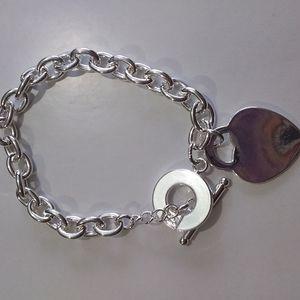 Sterling silve necklace n bracelet with heart